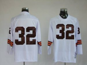 Mitchell & Ness Browns #32 Jim Brown White Stitched Throwback NFL Jersey
